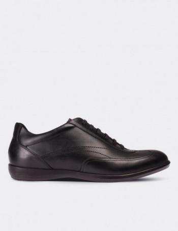 Hakiki Deri Siyah Spor Erkek Ayakkabı