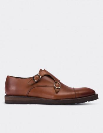 Hakiki Deri Taba Rengi Çift Tokalı Erkek Ayakkabı