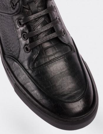 Hakiki Deri Yeşil High Sneaker Erkek Ayakkabı