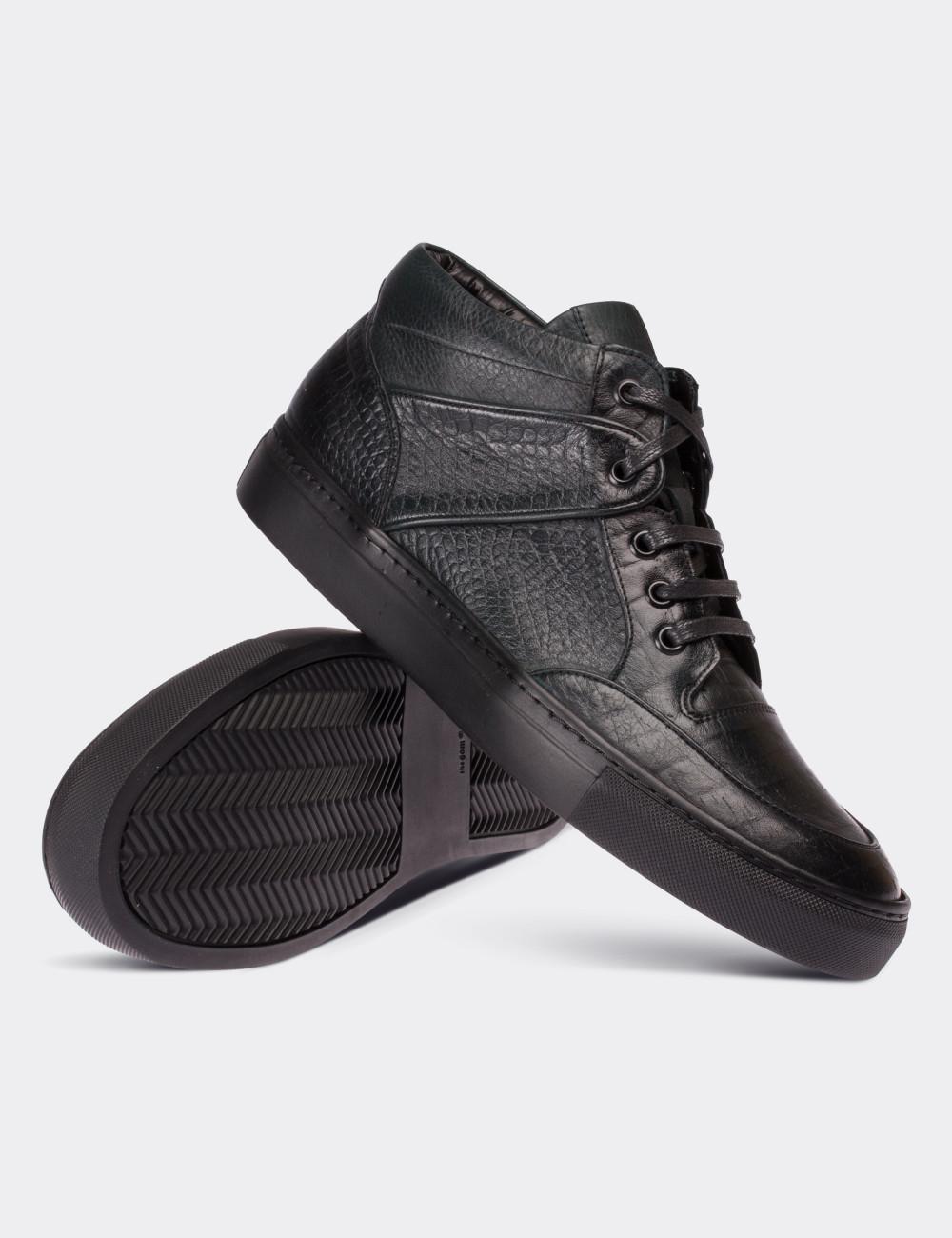 Hakiki Deri Yeşil High Sneaker Erkek Ayakkabı - 01631MYSLC01