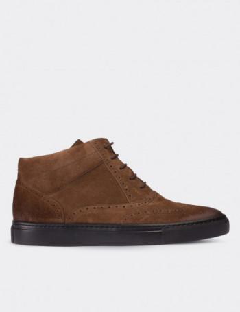 Hakiki Süet Taba Rengi High Sneaker Erkek Ayakkabı
