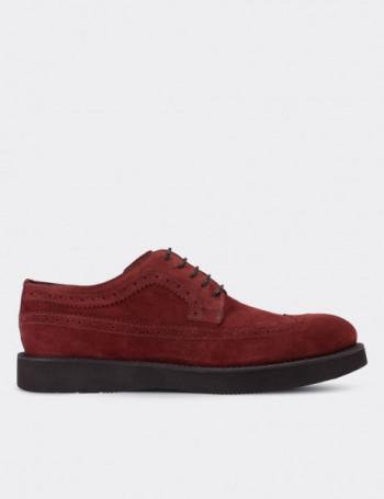 Hakiki Deri Bordo Süet Erkek Ayakkabı