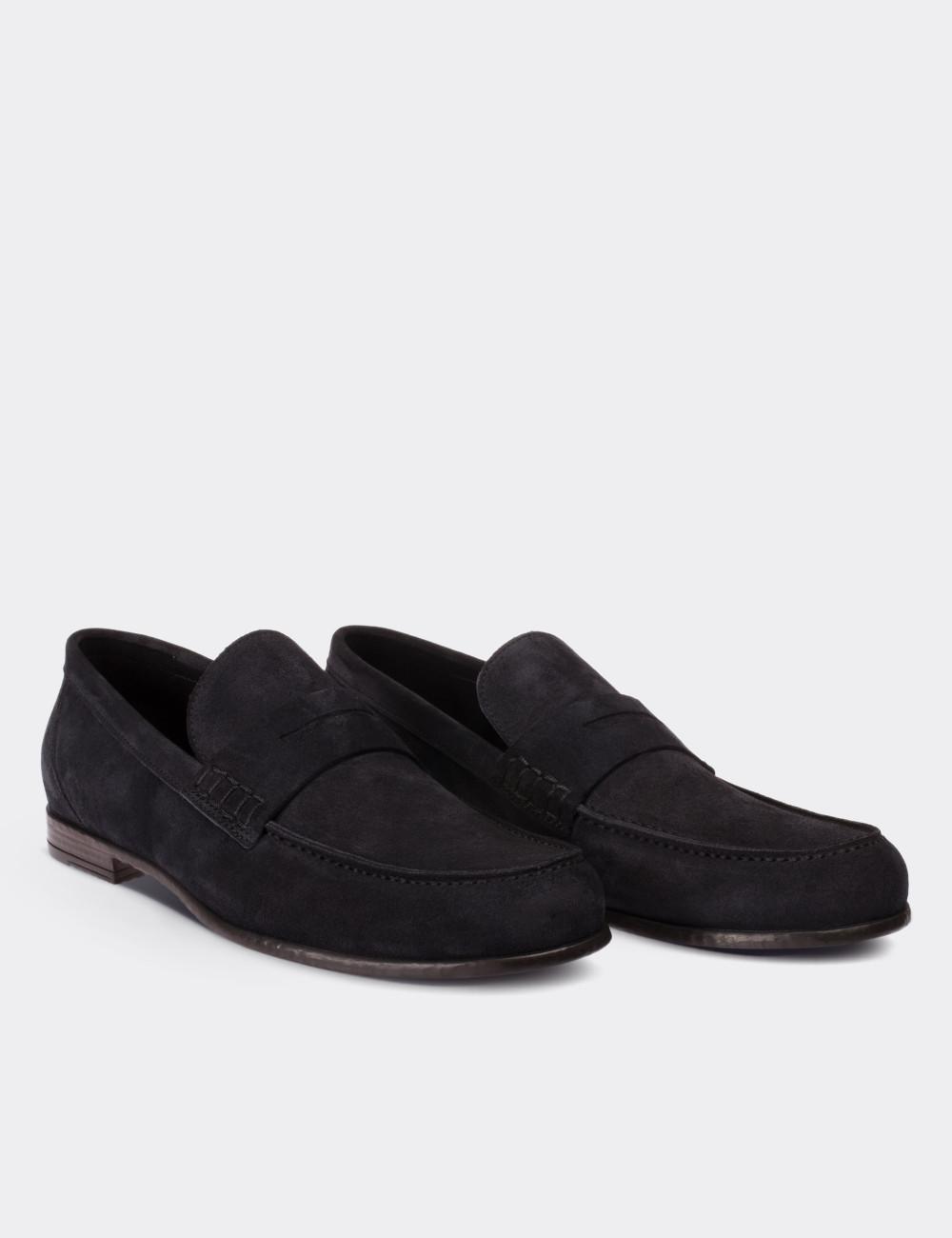 Hakiki Süet Lacivert Loafer Erkek Ayakkabı - 01538MLCVC01