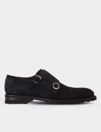 Hakiki Süet Lacivert Çift Tokalı Erkek Ayakkabı