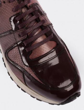 Hakiki Rugan Bordo Spor Erkek Ayakkabı