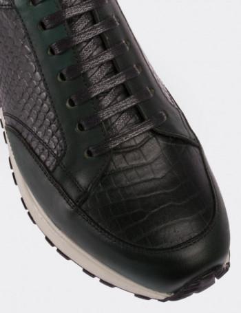 Hakiki Deri Yeşil Spor Erkek Ayakkabı