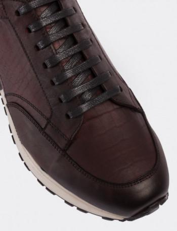 Hakiki Deri Kroko Bordo Spor Erkek Ayakkabı