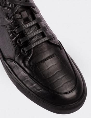 Hakiki Deri Siyah High Sneaker Erkek Ayakkabı