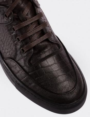 Hakiki Deri Kahverengi High Sneaker Erkek Ayakkabı