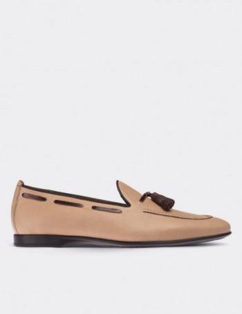 Hakiki Antik Deri Bej Loafer Erkek Ayakkabı