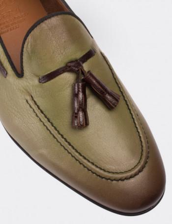 Hakiki Deri Yeşil Loafer Erkek Ayakkabı