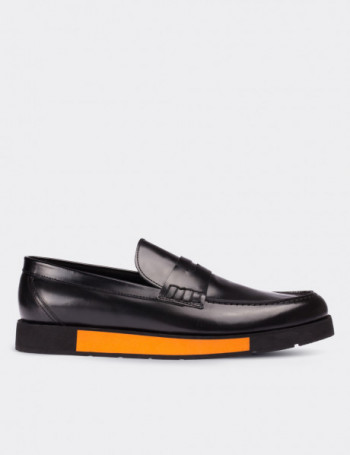 Hakiki Deri Renkli Eva Siyah Loafer Erkek