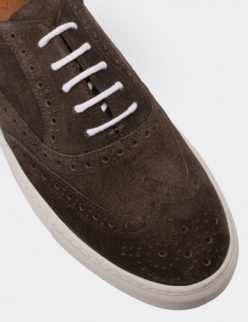 Hakiki Süet Yeşil Sneaker Erkek Ayakkabı