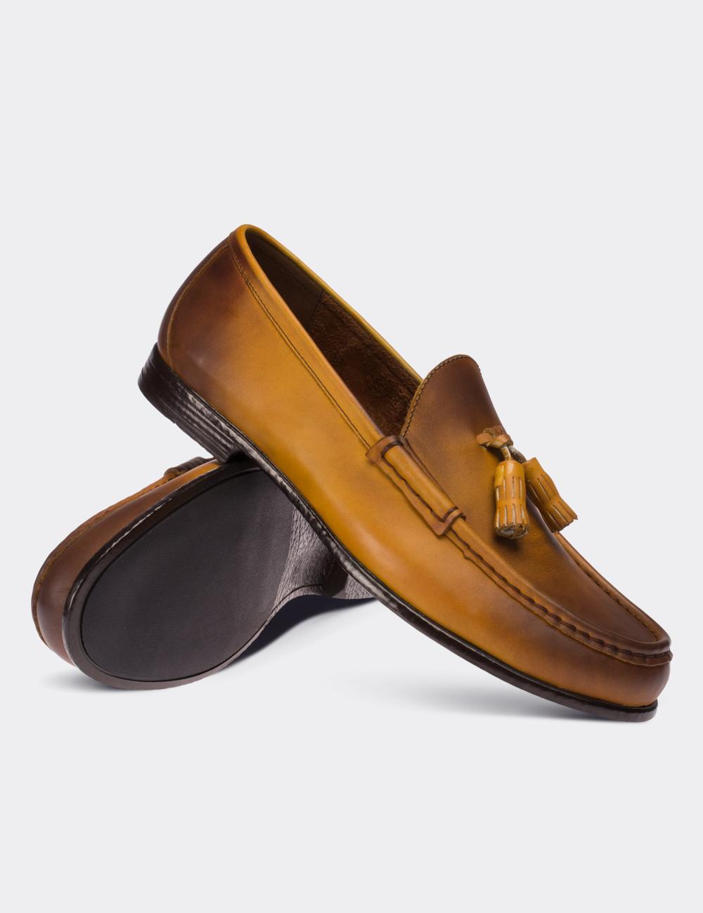 Hakiki Antik Deri Sarı Loafer Erkek Ayakkabı - 01650MSRIC01