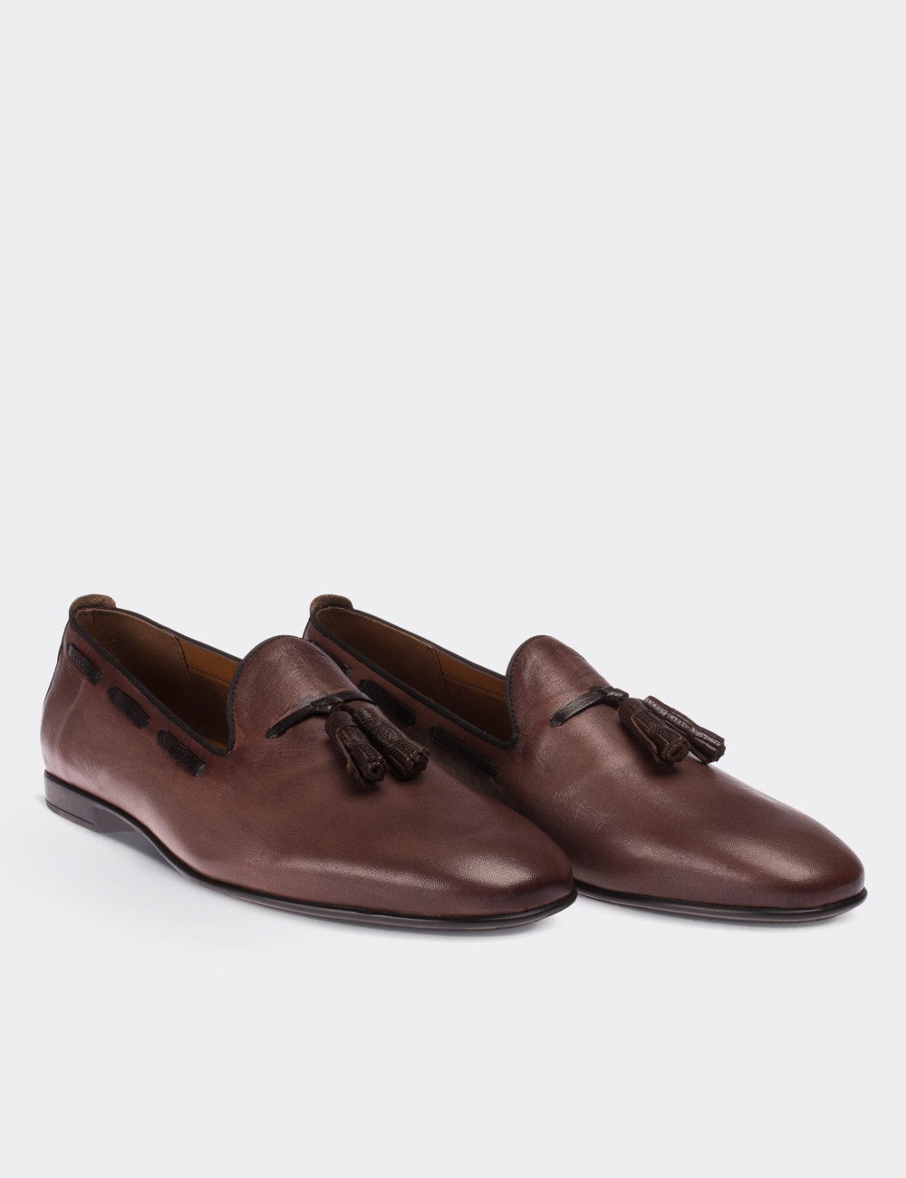 Hakiki Deri Kahverengi Loafer Erkek Ayakkabı - 01643MKHVC02