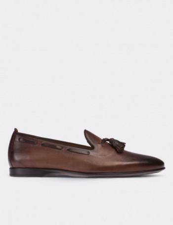 Hakiki Deri Kahverengi Loafer Erkek Ayakkabı
