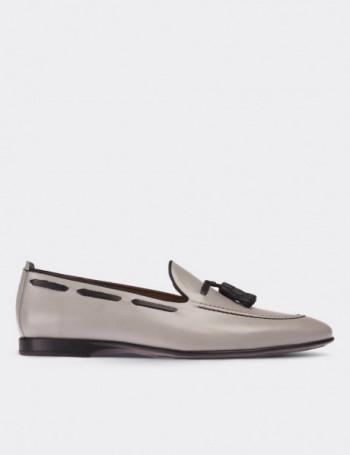 Hakiki Deri Gri Loafer Erkek Ayakkabı
