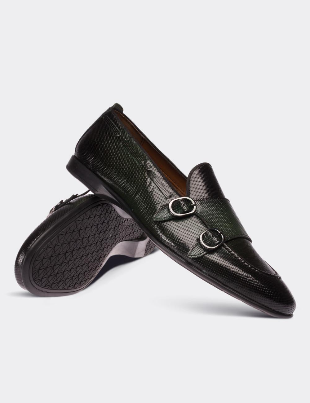 Hakiki Rugan Yeşil Loafer Erkek Ayakkabı - 01645MYSLC02