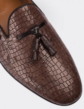 Hakiki Deri Vizon Rengi Loafer Erkek Ayakkabı
