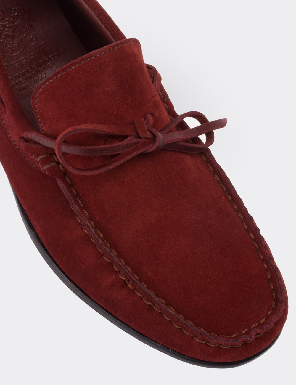 Hakiki Süet Bordo Loafer Erkek Ayakkabı - 01647MBRDC01