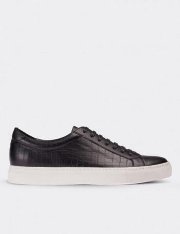 Hakiki Deri Kroko Lacivert Sneaker Erkek Ayakkabı