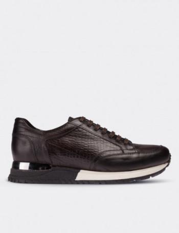 Hakiki Deri Kroko Kahverengi Spor Erkek Ayakkabı