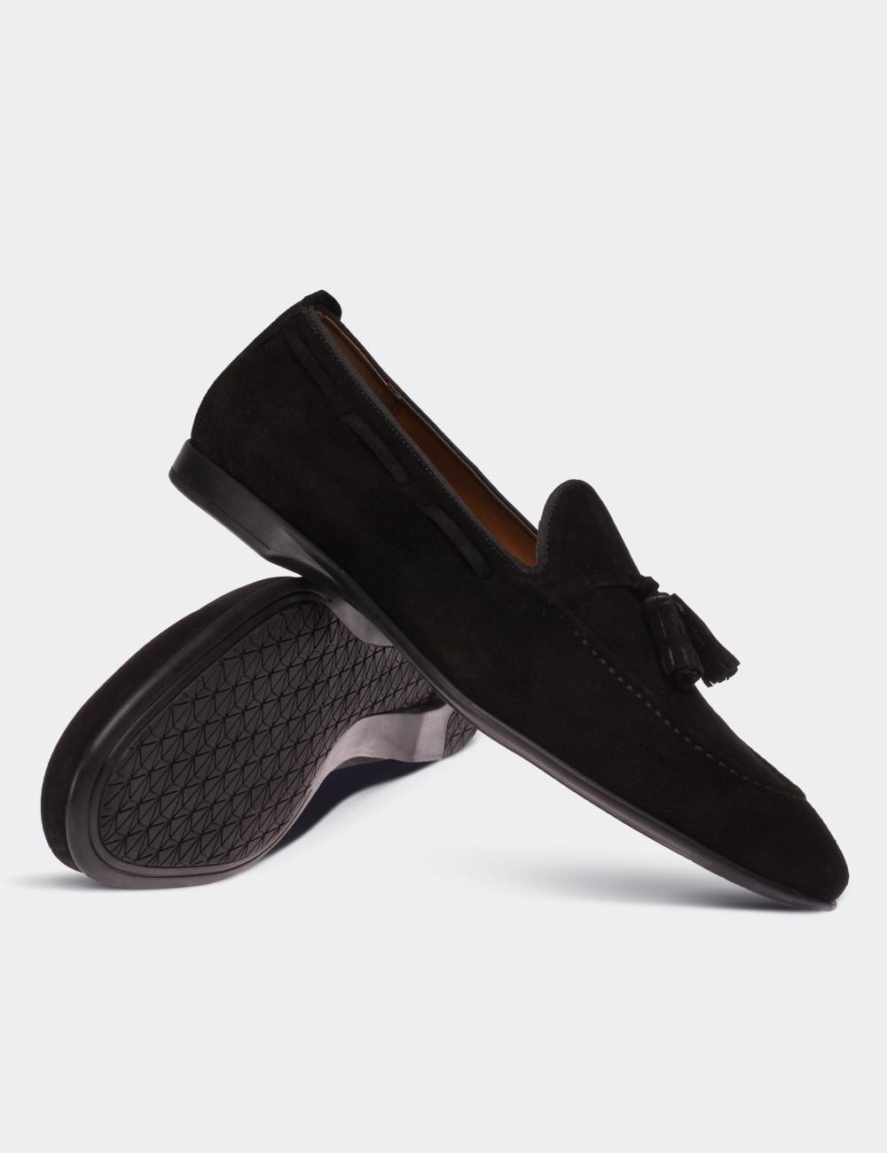 Hakiki Süet Siyah Püsküllü Erkek Loafer - 01642MSYHC01
