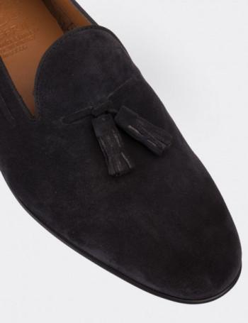 Hakiki Süet Lacivert Püsküllü Erkek Loafer