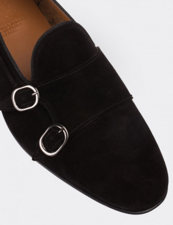 Hakiki Süet Siyah Çift Tokalı Erkek Loafer