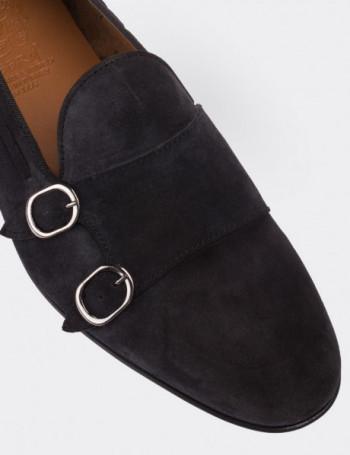 Hakiki Süet Lacivert Çift Tokalı Erkek Loafer