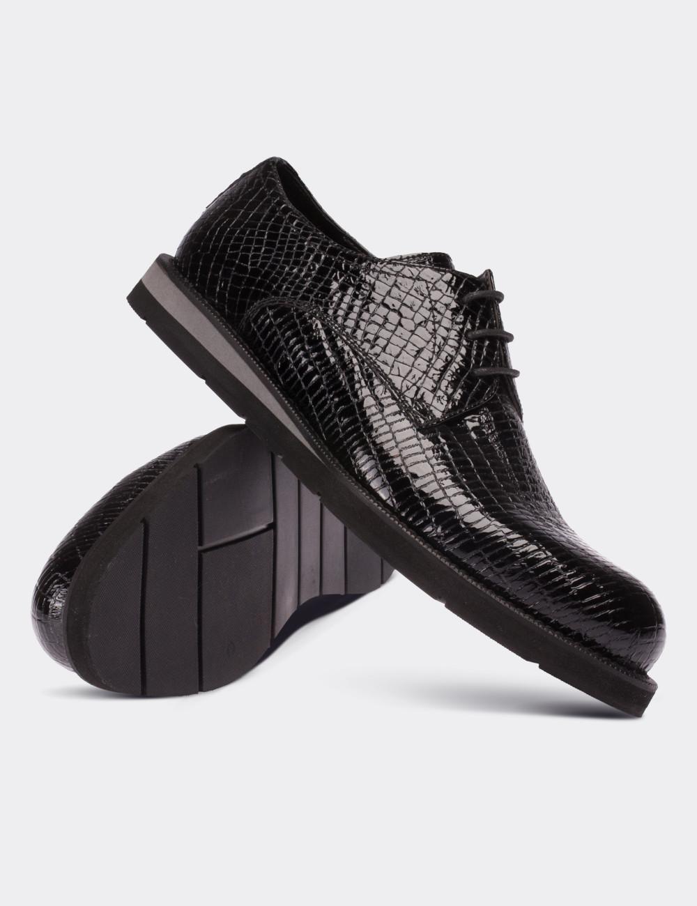 Hakiki Rugan Kroko Desen Siyah Günlük Erkek Ayakkabı - 01479MSYHE02