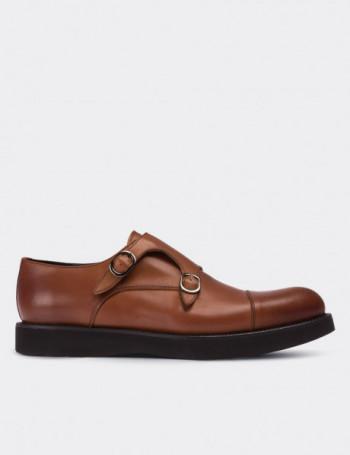 Hakiki Deri Taba Rengi Çift Tokalı Günlük Erkek Ayakkabı