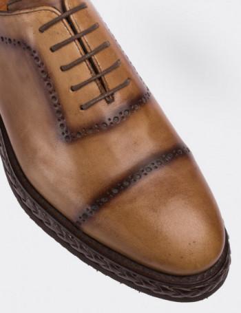 Hakiki Deri Bej Rengi Günlük Erkek Ayakkabı