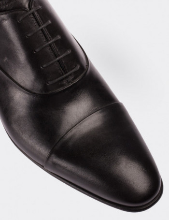 Hakiki Deri Siyah Erkek Kösele Ayakkabı