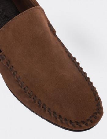 Hakiki Süet Taba Rengi Loafer Erkek Ayakkabı
