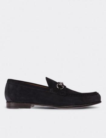 Hakiki Süet Lacivert Tokalı Loafer Erkek Ayakkabı