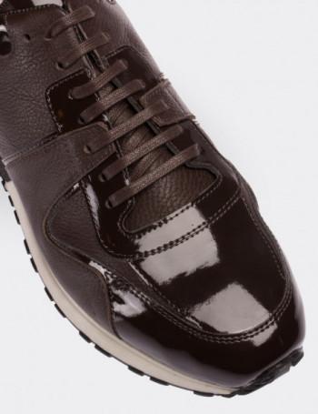 Hakiki Rugan Kahverengi Spor Erkek Ayakkabı