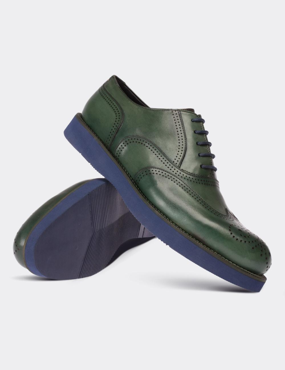 Hakiki Deri Yeşil Oxford Erkek Ayakkabı - 01341MYSLE01