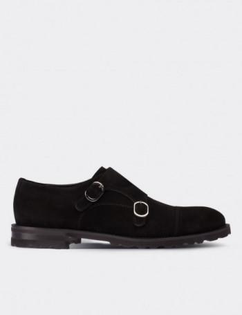 Hakiki Süet Siyah Çift Tokalı Erkek Ayakkabı