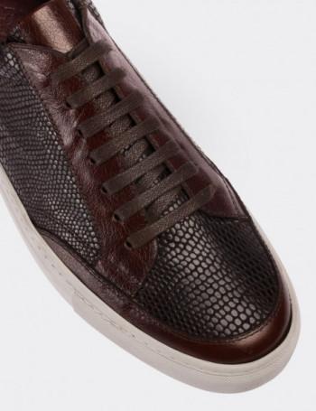 Hakiki Deri Kahverengi Kroko Sneaker Erkek Ayakkabı