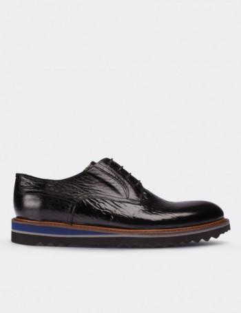 Hakiki Rugan Vintage Siyah Günlük Erkek Ayakkabı