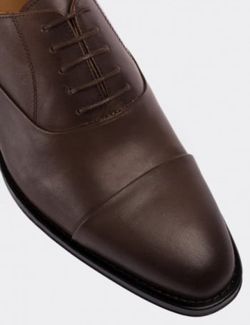 Hakiki Deri Vizon Rengi Erkek Kösele Ayakkabı