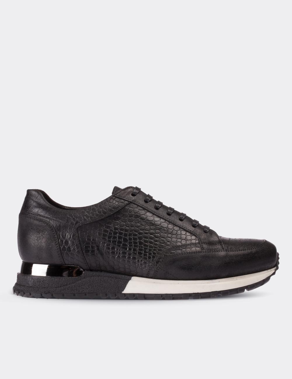 Hakiki Deri Kroko Siyah Spor Erkek Ayakkabı - 01632MSYHT01