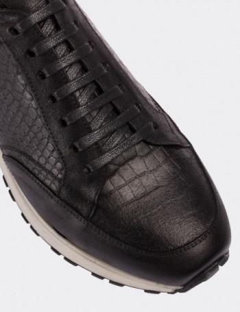 Hakiki Deri Kroko Siyah Spor Erkek Ayakkabı