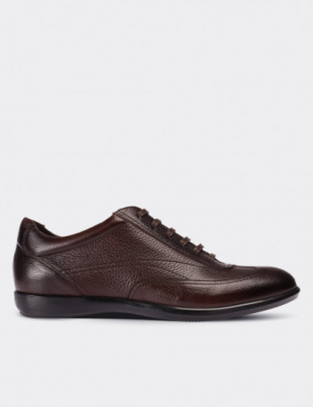 Hakiki Deri Kahverengi Spor Erkek Ayakkabı