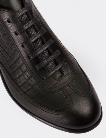 Hakiki Deri Kroko Yeşil Spor Erkek Ayakkabı