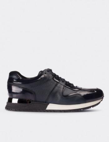 Hakiki Rugan Lacivert Spor Erkek Ayakkabı