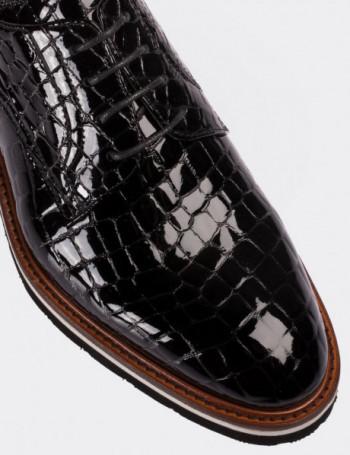 Hakiki Rugan Kroko Siyah Günlük Erkek Ayakkabı