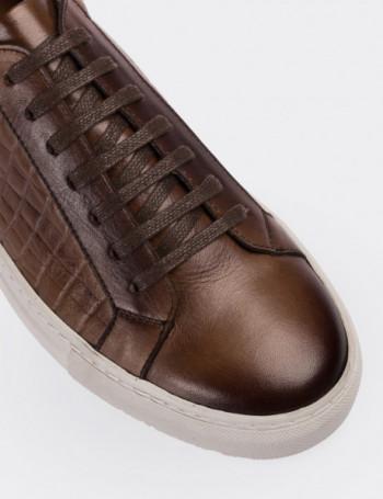 Hakiki Deri Kroko Desen Taba Rengi Sneaker Erkek Ayakkabı