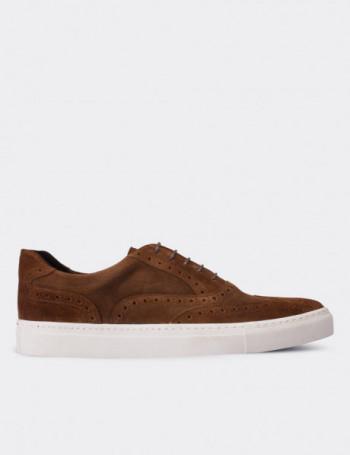 Hakiki Süet Taba Rengi Sneaker Erkek Ayakkabı